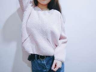 🚚 粉色短版針織♡