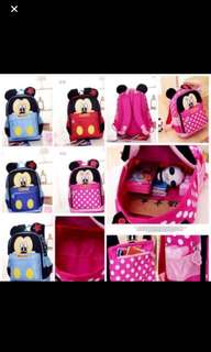 Last few sets left!! No more restock !! Minnie Mouse bag ht 31cm suitable for childcare use gd quality brand new *pink sold out