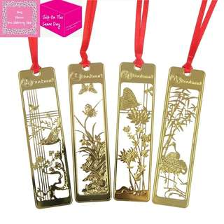 Gold Metal Scenery Illustration Bookmark