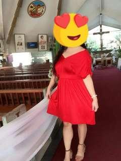 Elegant Red Dress stretched