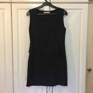 Korean Brand Black Faux Peplum Dress