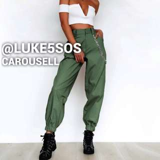 INSTOCKS Cobain cargo high waisted military pants - army green