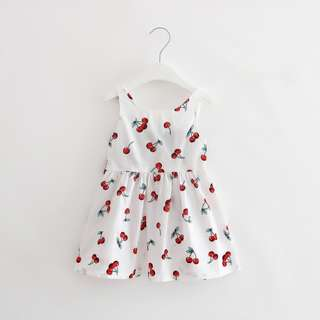 Sweet Baby Kids Girl Cherry Pattern Cotton Dress