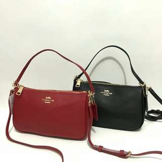Coach Top Handle Pouch Red and Black with Crossbody Strap