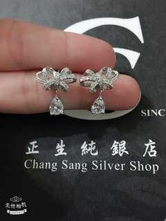 🚚 香港正生純銀飾-耳環