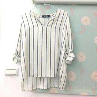 藍白直條紋雪紡上衣#女裝半價