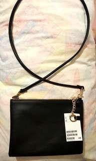 H&M Black Sling Bag with Gold Furnishings