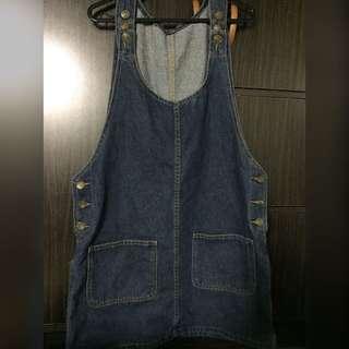 Denim Overall Dress in Dark Blue