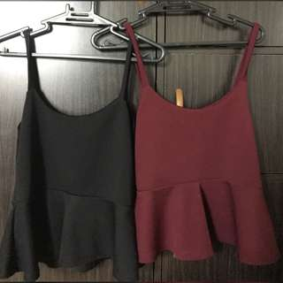 Peplum Top in Black and Red