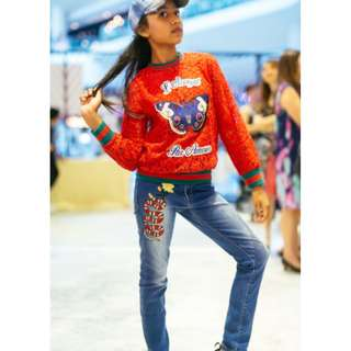 Butterfly and snake embroidered jeans