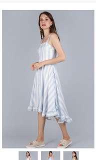 Lea Ruffled Hem Dress (Light Blue Stripes)