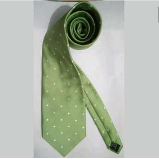 MA104 Stafford Apple Green Polka Dots Necktie / Cravat (GUC)