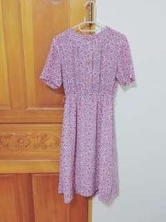 🍬古著vintage🍬夢幻粉色花叢短袖古著洋裝