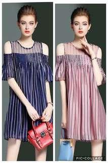 Stripes cut out shoulder Dress