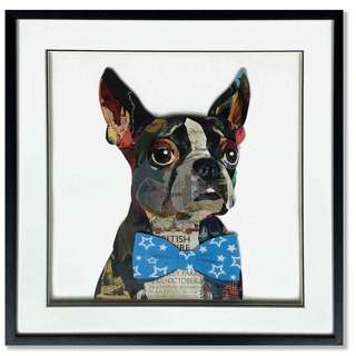 French Bulldog Blue Bowtie Paper Collage