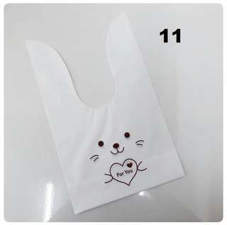 50pcs 17x29cm Cute Rabbit Ear Cookie Bags Self-adhesive Plastic Bags (L size)