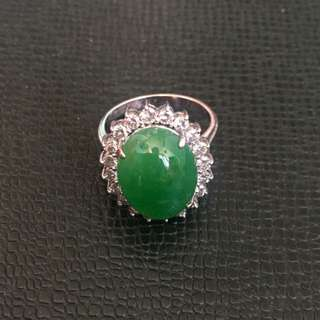 18K White Gold Jade Ring