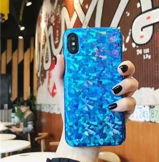 閃炫反射雷射光面亮面半包iPhone X/8/7/6 plus Case