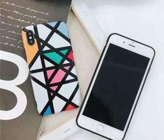 歐美風幾何多邊型彩色亮面全包軟殻iPhone X/8/7/6 plus case