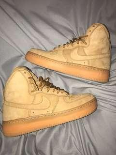 Nike Air Force 1 High Top, Tan, 4.5Y