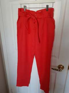 Red Linen Pants Size M