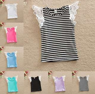 *READY STOCK* Kids O-Neck Lace Sleeve Top