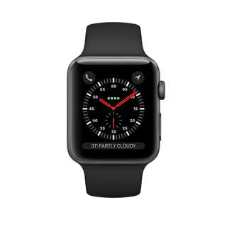 Apple iWatch 3 series AUTHENTIC BRAND NEW Space Gray Aluminum Case with Black Sport Band 38mm  GPS + cellular