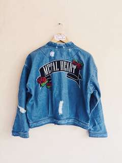 Penshoppe Mid-Blue Distressed Oversized Denim Jacket