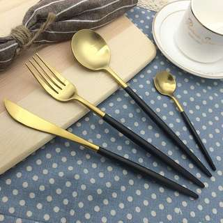 Black-Gold Utensils Set  Set includes 1 knife, 1 fork, 1 spoon, 1 teaspoo