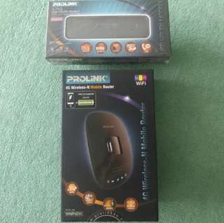 Prolink WNR1011 4G Wireless-N Mobile Router & Prolink PHS300 3.75G USB HSUPA Modem with Voice Feature