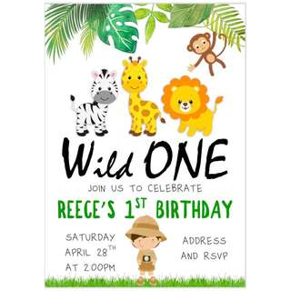 Safari Theme Birthday Invitation eCard