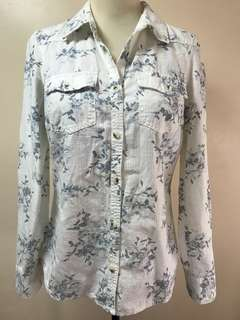 Sonoma White Floral Long Sleeve