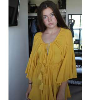 $30 Boutique Canary Yellow/ Mustard Romper