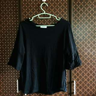 Korean brand Black Frilly Sleeved Blouse