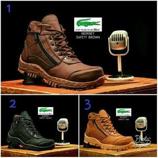 Sepatu boots pria crocodille morisey safety trendy touring