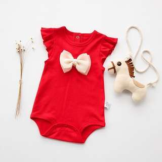 👶🏻(PO) Red Onesie with Ribbon for Newborn