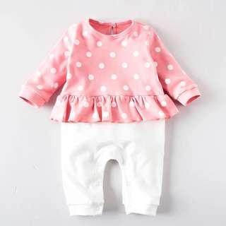 👶🏻(PO) Pink & White Romper for Newborn Baby