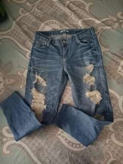 Tattered bf jeans