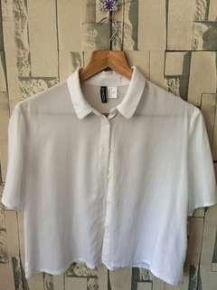 H&M White Crop Polo