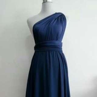 Convertible Infinity MultiWay Wrap Dress in Midnight Blue (garterized)