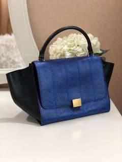 Exotic Lux, below retail 💙 Like New Celine Medium Trapeze With Strap Snake  Skin Royal 36a3bb53a7