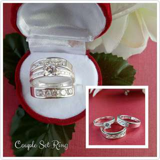 Authentic 925 Italy silver couple set ring
