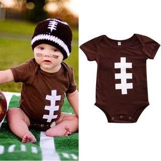 Instock - rugby romper, baby infant toddler girl children glad cute chubby 123456789 lalalala