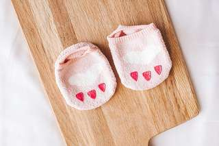 Instock - pink paw socks, baby infant toddler girl boy children cute chubby 123456789 lalalal