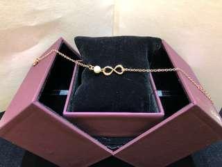 Mabelle leodiamond 玫瑰金純銀珍珠手鏈全新,有粒細石