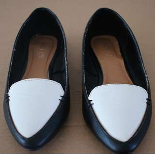 NEW LOOK Black White Flat Shoes