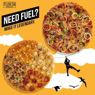 """14"""" inches YELLOW CAB PIZZA (HAWAIIAN, FOUR CHEESE, ALL MEAT, NEWYORK'S BEST)"""