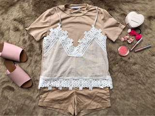 cream zara inspired top