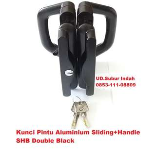Kunci Pintu Aluminium Sliding+Handle SHB Double Black