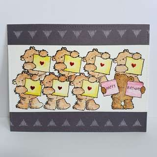 Birthday Card, multi-bears